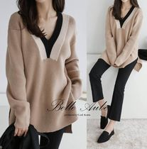 Casual Style V-Neck Bi-color Long Sleeves Medium Oversized