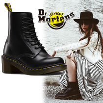 Dr Martens Leather Block Heels Mid Heel Boots