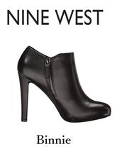 Nine West Casual Style Plain Leather Block Heels High Heel Boots