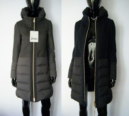 Blended Fabrics Plain Down Jackets