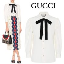 GUCCI Cropped Plain Cotton Medium Elegant Style Shirts & Blouses