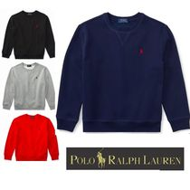 Ralph Lauren Crew Neck Long Sleeves Plain Cotton Sweatshirts
