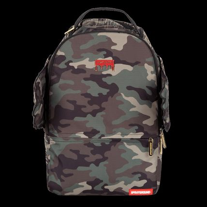 Stripes Camouflage Canvas Street Style A4 Backpacks
