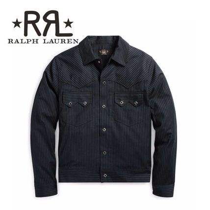 Short Stripes Wool Denim Jackets Jackets