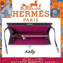 HERMES Kelly Leather Handmade Long Wallets