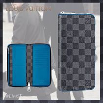 Louis Vuitton ZIPPY WALLET VERTICAL Other Check Patterns Canvas Blended Fabrics Street Style