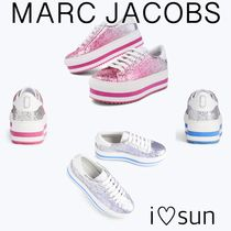 MARC JACOBS Stripes Round Toe Casual Style Unisex Plain Low-Top Sneakers