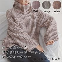 Cable Knit Casual Style Street Style Long Sleeves Plain