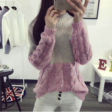 Cable Knit Casual Style Street Style Bi-color Long Sleeves
