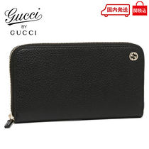 GUCCI Unisex Plain Leather Long Wallets