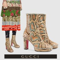 GUCCI Round Toe Blended Fabrics Leather With Jewels Python