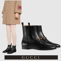 GUCCI Round Toe Casual Style Plain Leather Ankle & Booties Boots