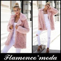Faux Fur Plain Long Cashmere & Fur Coats