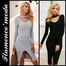 Tight V-Neck Long Sleeves Plain Medium Elegant Style Dresses