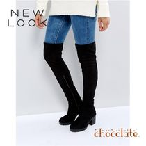 ASOS Plain Toe Casual Style Plain Block Heels Over-the-Knee Boots