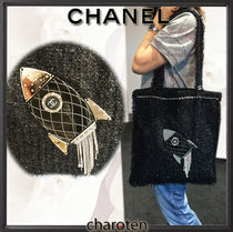 CHANEL ICON Black/SHW Tweed Rocket Embellished Shopping in Fabrics Bag