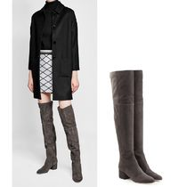 Sergio Rossi Casual Style Suede Plain Block Heels Over-the-Knee Boots