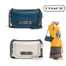Coach SWAGGER Glovetanned Leather Swagger Shoulder Bag(Mineral Blue/White)