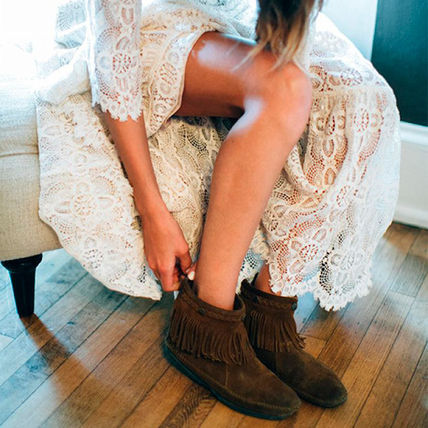 Casual Style Suede Plain Handmade Boots Boots