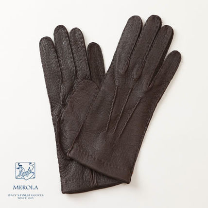 Plain Leather Handmade Leather & Faux Leather Gloves