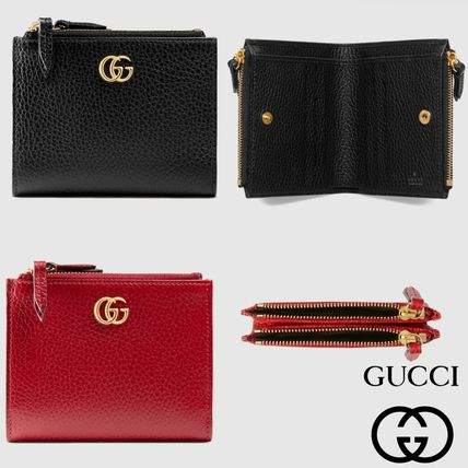 bfc57c52fa70 GUCCI GG Marmont 2018 Cruise Plain Leather Folding Wallets (474747 ...