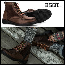 BSQT Street Style Leather Boots
