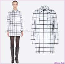 VALENTINO Other Check Patterns Wool Medium Elegant Style Peacoats