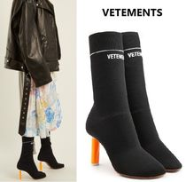 VETEMENTS Casual Style Plain Block Heels Ankle & Booties Boots