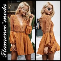 Short Casual Style A-line V-Neck Long Sleeves Dresses