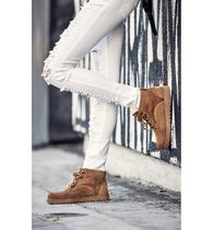 UGG Australia BETHANY Round Toe Lace-up Casual Style Fur Plain Lace-up Boots
