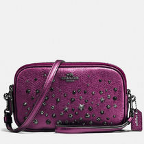 Coach Metallic Purple With Star Rivets Clutch Shoulder Bag