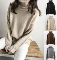 NANING9 Long Sleeves High-Neck Sweaters
