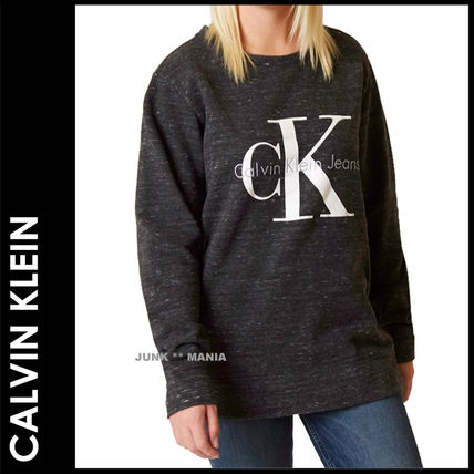 Crew Neck Casual Style Street Style Long Sleeves Cotton