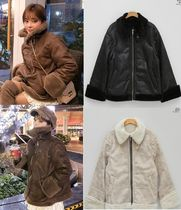 Faux Fur Plain Medium Fur Leather Jackets
