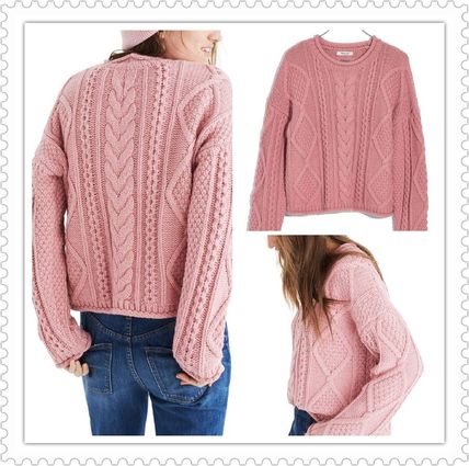Casual Style Wool U-Neck Long Sleeves Plain Long Sweaters