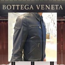BOTTEGA VENETA Short Plain Leather Biker Jackets