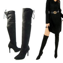 Suede Plain Pin Heels Elegant Style Over-the-Knee Boots