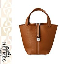 HERMES Picotin Casual Style Plain Leather Totes