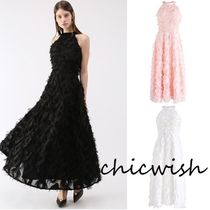 Chicwish Chiffon Tassel Sleeveless Flared Halter Neck Plain Long