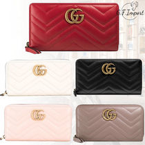GUCCI GG Marmont Monogram Unisex Calfskin Plain Long Wallets