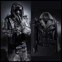 Unisex Studded Street Style Leather Biker Jackets