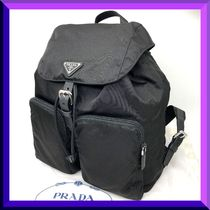 PRADA Unisex Nylon Blended Fabrics A4 Plain Backpacks