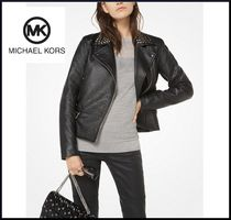 Michael Kors Short Casual Style Studded Plain Leather Biker Jackets