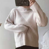 Cable Knit Wool Street Style Long Sleeves Plain Medium