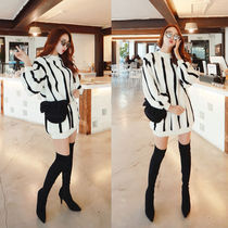 Stripes Casual Style A-line Long Sleeves Medium Dresses