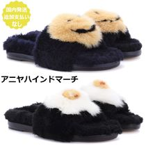 Anya Hindmarch Open Toe Casual Style Fur Plain Slippers Sandals