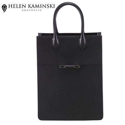 Blended Fabrics A4 2WAY Plain Leather Elegant Style Totes