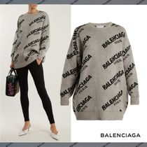 BALENCIAGA Crew Neck Casual Style Rib Street Style Long Sleeves Long