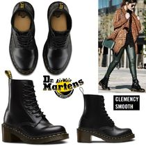 Dr Martens Round Toe Lace-up Casual Style Plain Leather Block Heels