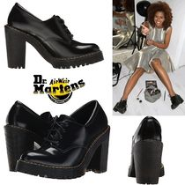 Dr Martens Round Toe Lace-up Plain Leather Block Heels Lace-up Boots